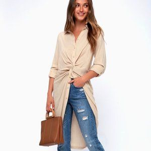 Lulu's- Beige High-Low Tunic- NWT